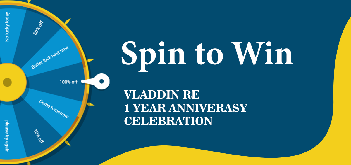 VLADDIN RE TURNS ONE YEAR! ----Come and join our celebration.