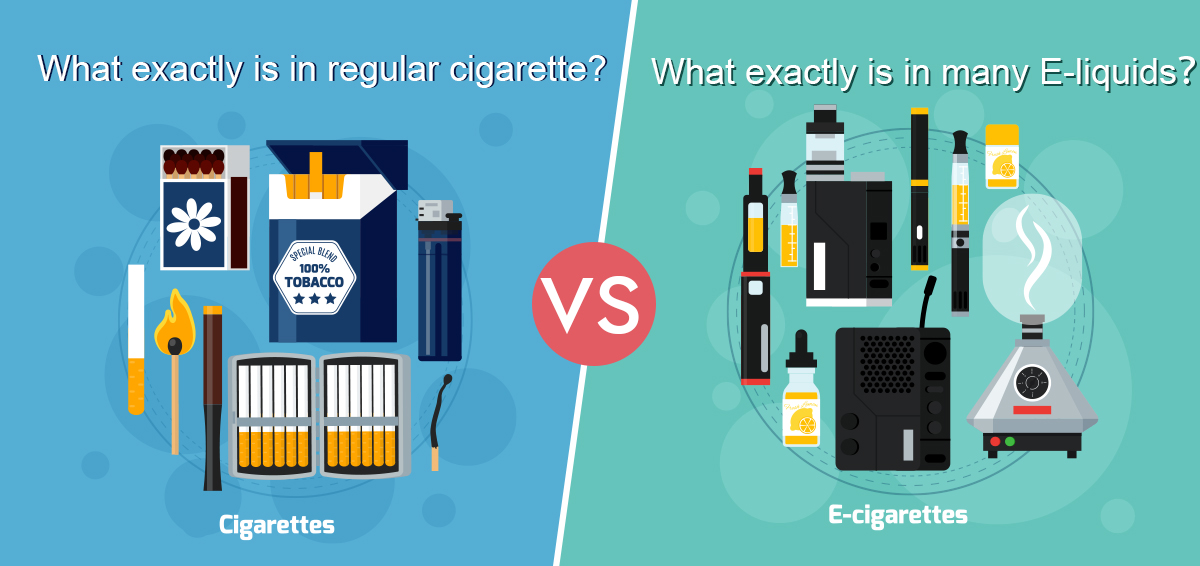What exactly is in regular cigarette VS What exactly is in many E-liquids?