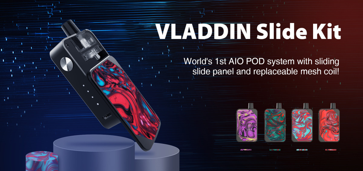 World's 1st AIO POD System With Sliding Slide Panel And Replaceable Mesh Coil