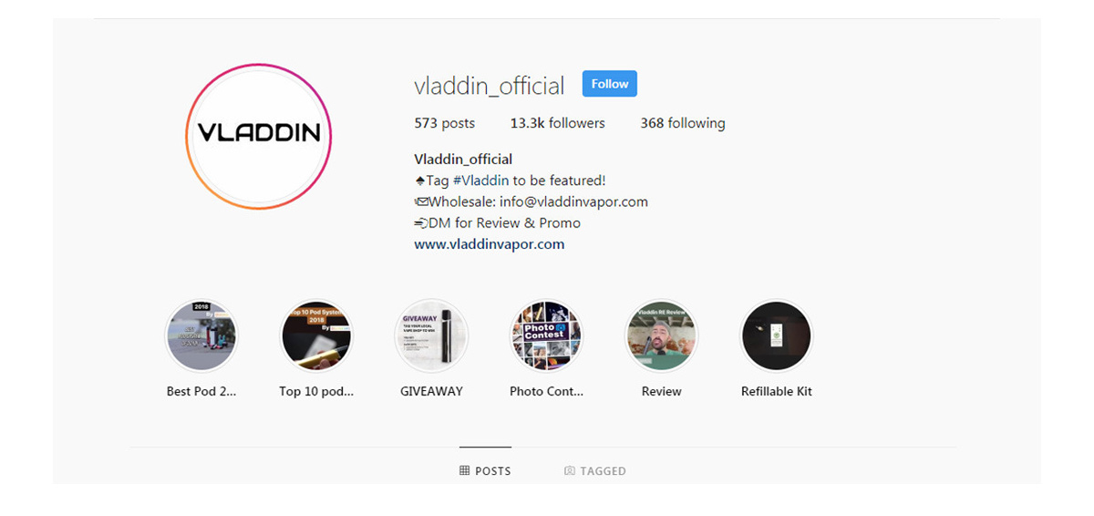 intragram page of vladdin