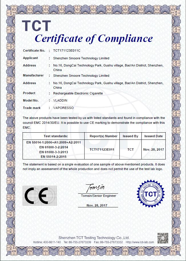 VLADDIN CE Certificate