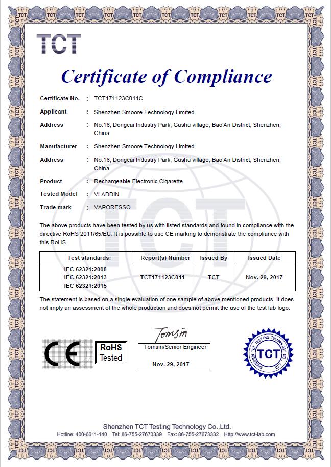 VLADDIN RoHS Certificate
