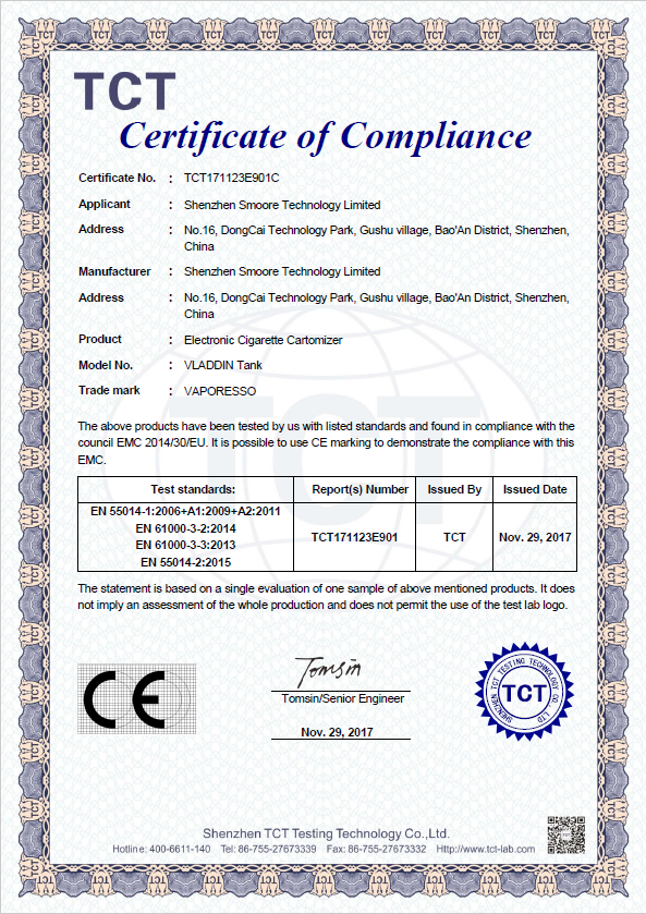VLADDIN Tank CE Certificate