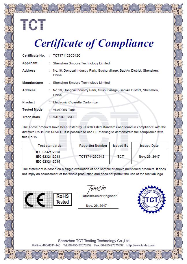 VLADDIN Tank RoHS Certificate